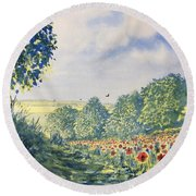 Poppies A'plenty Round Beach Towel