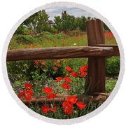 Poppies At The Farm Round Beach Towel