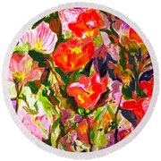 Poppies Round Beach Towel by Beth Saffer