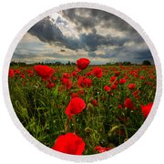Round Beach Towel featuring the photograph Poppies by Davorin Mance
