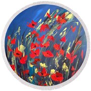 Poppies Field On A Windy Day Round Beach Towel