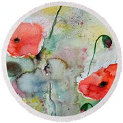 Poppies - Flower Painting Round Beach Towel