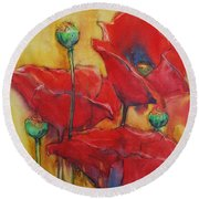 Poppies IIi Round Beach Towel