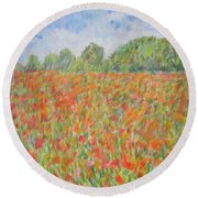 Poppies In A Field In Afghanistan Round Beach Towel