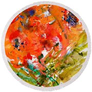 Poppies In A Hurricane Round Beach Towel by Beverley Harper Tinsley