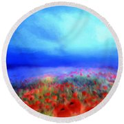 Poppies In The Mist Round Beach Towel