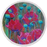 Round Beach Towel featuring the painting Poppies  by Jani Freimann