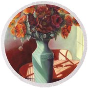 Round Beach Towel featuring the painting Poppies by Marlene Book