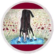 Round Beach Towel featuring the painting Poppies N  Puddles by Angela Davies