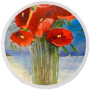 Round Beach Towel featuring the painting Poppies On The Window Ledge by Pamela  Meredith