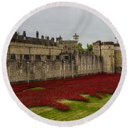 Poppies Tower Of London Round Beach Towel