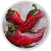 Poppin' Peppers Round Beach Towel