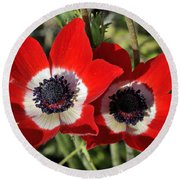 Round Beach Towel featuring the photograph Poppy Anemones by George Atsametakis