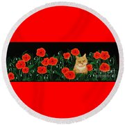 Poppy Cat Round Beach Towel