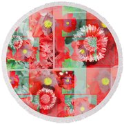 Poppy Collage Round Beach Towel