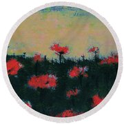 Round Beach Towel featuring the painting Poppy Field by Jacqueline McReynolds