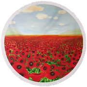 Poppy Fields Round Beach Towel