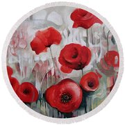 Round Beach Towel featuring the painting Poppy Flowers by Elena Oleniuc