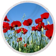 Round Beach Towel featuring the photograph Poppy Flowers by George Atsametakis