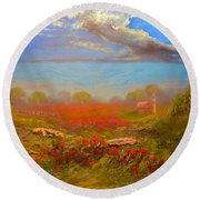 Poppy Morning Round Beach Towel