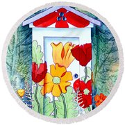 Poppy Potty Round Beach Towel