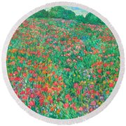 Poppy View Round Beach Towel