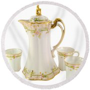 Porcelain Pitcher And Cups Round Beach Towel