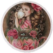 Round Beach Towel featuring the drawing Porcelain by Sheena Pike