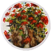 Round Beach Towel featuring the painting Porch Geraniums by John Williams