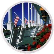 Porch Of The Grand Hotel, Mackinac Round Beach Towel