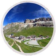 Pordoi Pass And Mountain Round Beach Towel