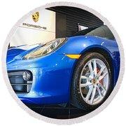 Porsche Cayman S In Sapphire Blue Round Beach Towel