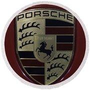 Porsche Emblem Round Beach Towel by Sebastian Musial