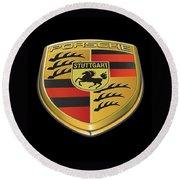 Porsche Logo On Black Round Beach Towel