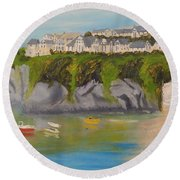 Round Beach Towel featuring the painting Port Asaac Cornwell by Pamela  Meredith
