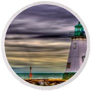 Round Beach Towel featuring the photograph Port Dalhousie Lighthouse by Jerry Fornarotto