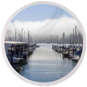 Round Beach Towel featuring the photograph Port Kingston Marina by Greg Reed