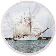 Juan Sebastian De Elcano Famous Tall Ship Of Spanish Navy Visits Port Mahon In Front Of Bloody Islan Round Beach Towel
