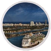 Port Of Miami Panoramic Round Beach Towel by Susan Candelario