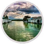Storm Clouds Over  Port Royal Boathouses In Naples Round Beach Towel