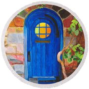 Round Beach Towel featuring the painting Portal by Rodney Campbell