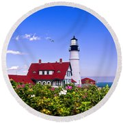 Portland Head Light And Roses Round Beach Towel
