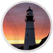 Portland Head Light At Dawn Round Beach Towel