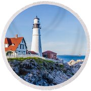 Portland Head Light House Cape Elizabeth Maine Round Beach Towel
