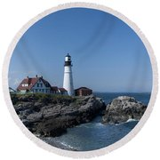 Portland Head Light House Round Beach Towel by Daniel Hebard