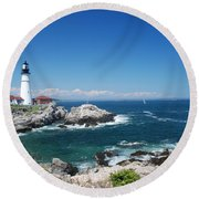 Portland Head Lighthouse Round Beach Towel by Allen Beatty