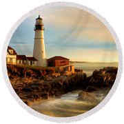 Portland Head Lighthouse At Dawn Round Beach Towel
