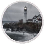 Portland Head Nor'easter Round Beach Towel