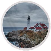 Round Beach Towel featuring the photograph Portland Headlight 14440 by Guy Whiteley