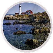 Portland Headlight 37 Oil Round Beach Towel